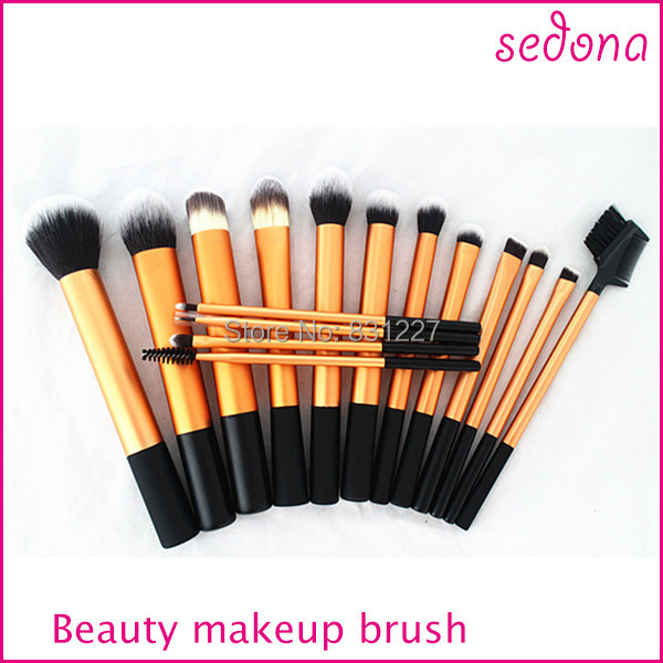 Free Shipping Sedona brand 16pcs gold cosmetic makeup brush kit makeup brush set synthetic hair brushes