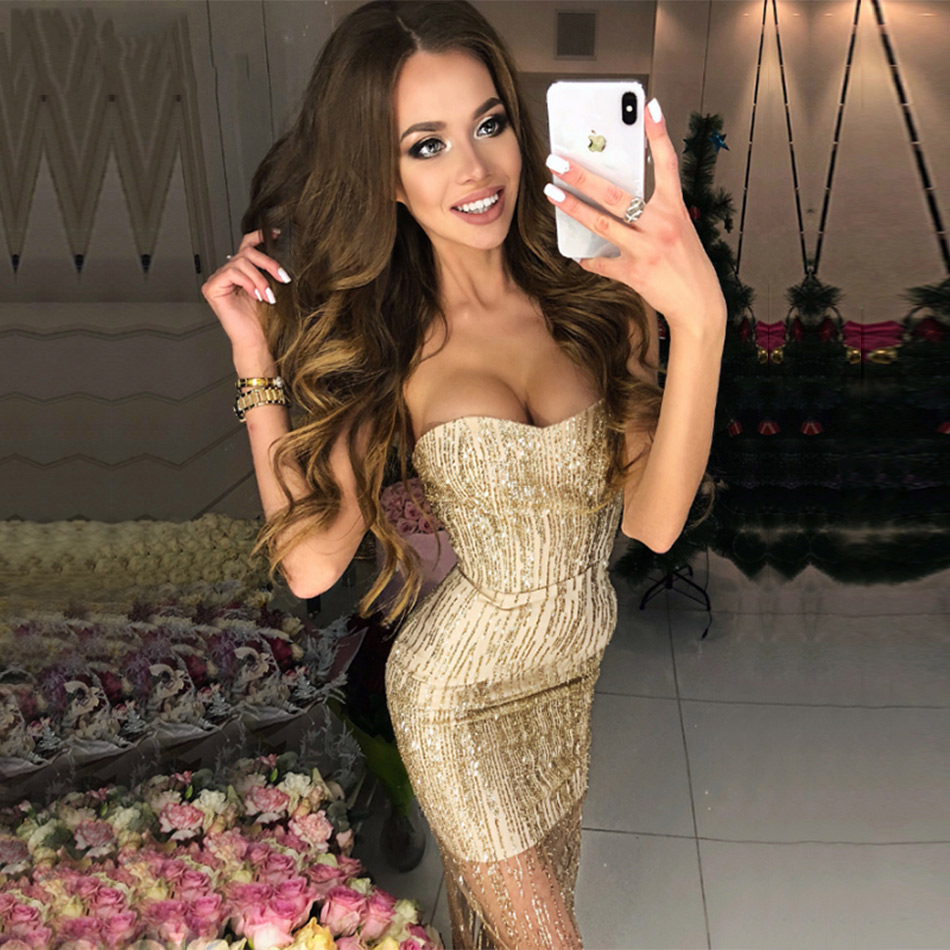 Seamyla 2019 New Summer Women Bandage Dresses Strapless Gold Sequined Dress Sexy Celebrity Party Dress Vestidos
