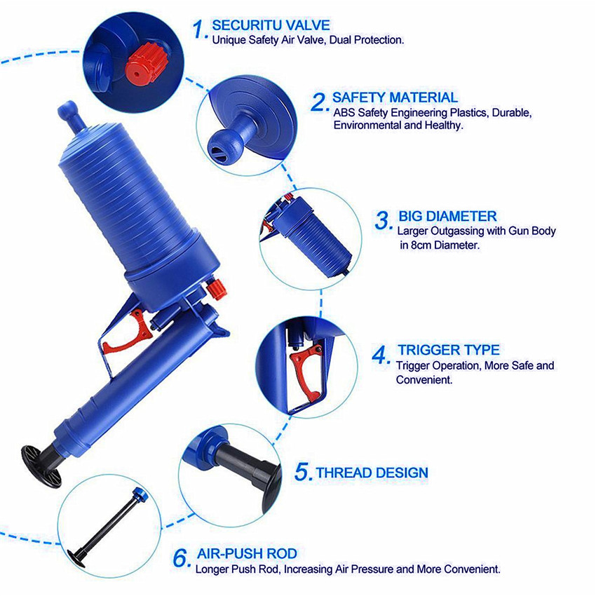 Air Pressure Drain Cleaner Sewer Cleaning Brush Kitchen Bathroom Toilet Dredge Plunger Basin Pipeline Clogged Remover Tool Set