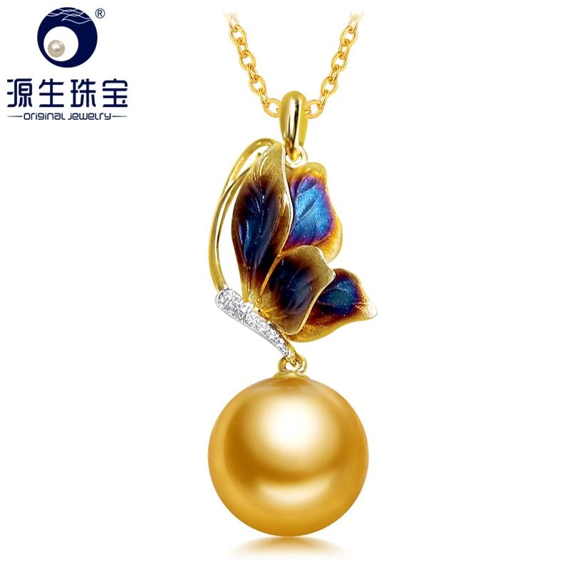 YS Nuovo Arrivo Purple Butterfly Design 14 k Ciondolo In Oro 9-10mm Reale Del Sud Mare/Tahitian Pearl Collana del pendente Per Le Donne