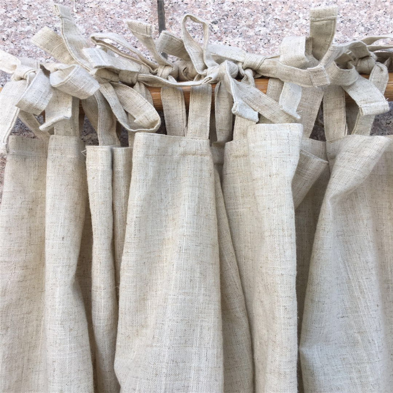 Natural Linen Curtain Orginal Hemp Curtains Solid Color Semi-blackout Cortinas For Living Room Bedroom Window Decoration