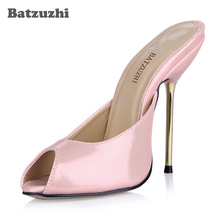 Batzuzhi Pink Sexy Party Shoes Women Peep Toe Stiletto High Iron Heels Ladies Slides Sandals Plus Sizes 10.5 Zapatos Mujer 2016 winter sexy party shoes women stiletto high heels ladies knee high boots zapatos mujer 3463bt q3