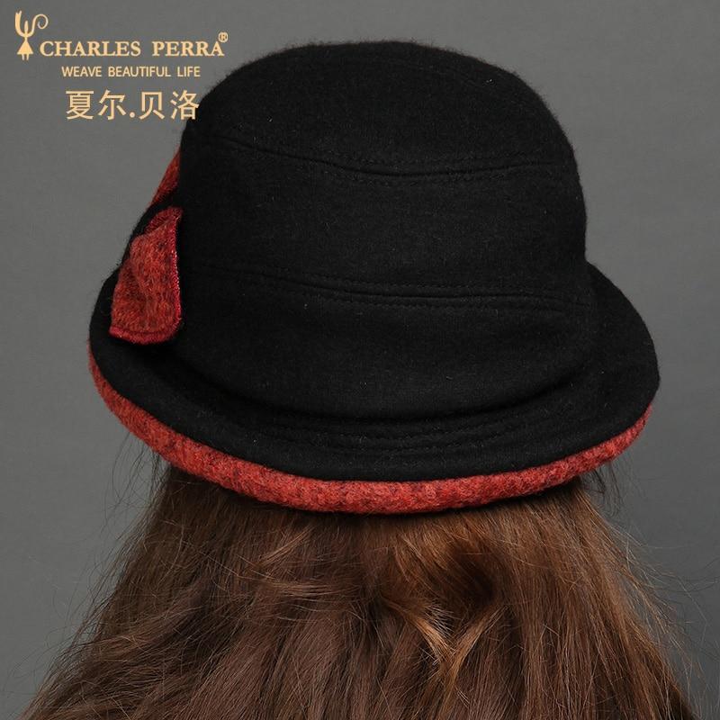 Womens Wool Hat Winter Woolen Fedoras Hat Protect Ear Warm Bowler Floppy Ladies Churh Cloche Hats Student Leisure Hat B-7668