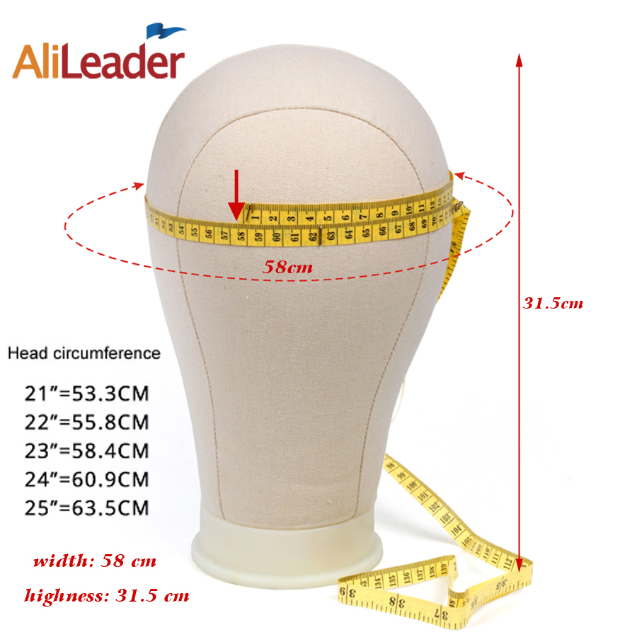 Alileader Training Mannequin Head Canvas Block Head Display Styling Mannequin Manikin Head Wig Stand Free Get T Needle Holder