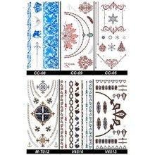 Halu Metalic Gold Temporary Tattoos Stickers Sexy Henna Flash Metal Removable Bracelet Arm Body Art Fake Tattoo Decals Sticker