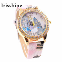 Irisshine B0856 brand luxury Lady girl Women watches gift New London Style Fashion Colored PU Leather Watch Casual quartz watch