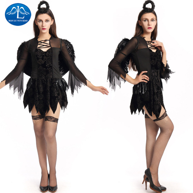Manluyunxiao Black Dark Devil Fallen Angel Costume Women Halloween
