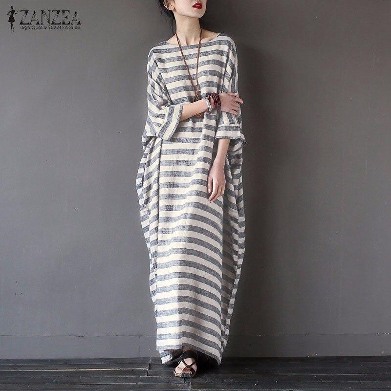 Women Elegant Striped Print Dress 2018 Spring ZANZEA Casual Loose O Neck Batwing Sleeve Maxi Long Dress Vestidos Plus Size