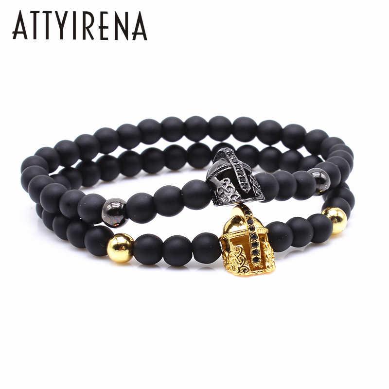 23245e6c0215 2018 Black Matte Stone Bracelet Men Gold-color CZ Cubic Zirconia Gladiator  Spartan Helmet Charm