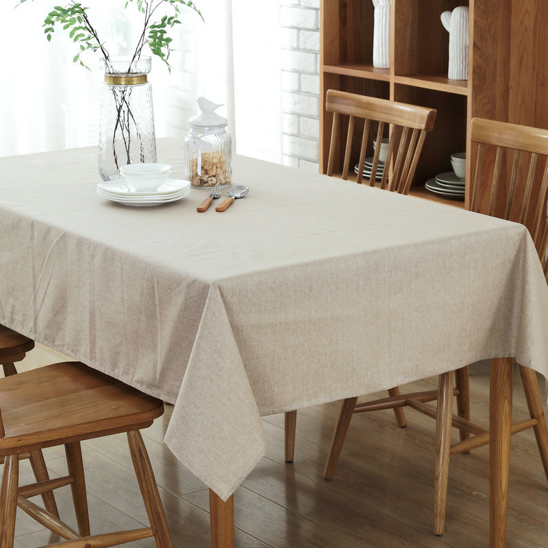 Mantel de lino blanco estilo americano color sólido Navidad mantel - Textiles para el hogar
