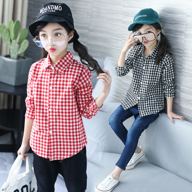91b549d5c Baby Kids Blouse Girl Fashion Autumn Kids Tops for Girls 11 Years Cotton  Children Red Plaid Shirts Long Sleeve Teenager Clothes