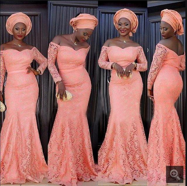 South African Pink Lace Mermaid bridesmaid Dresses Off the Shoulder ...