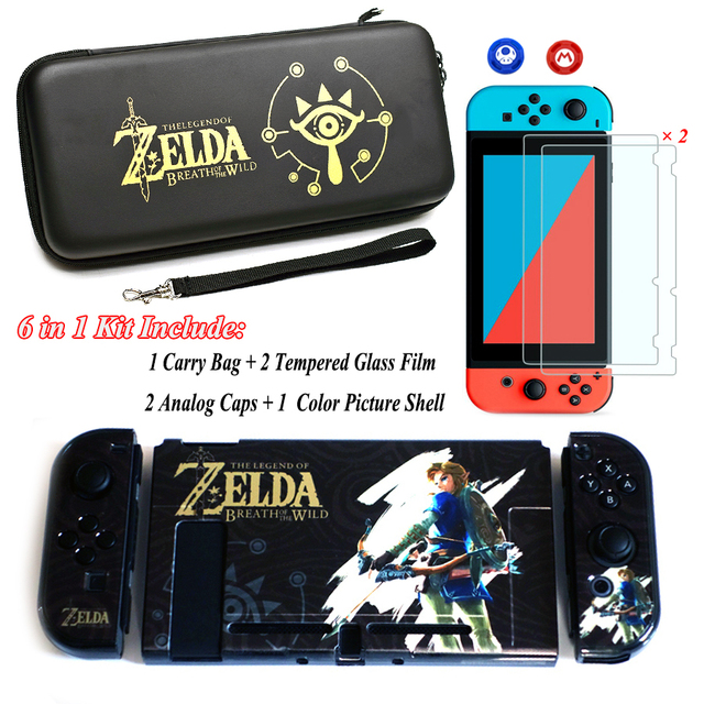 Nintend Switch NS Accessories Carry Bag + 2 Tempered Glass Film + PC Shell Case + Analog Caps for Nintendo Switch Game Console 2