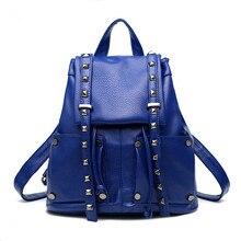 2016 Европейской и Американской моды bolsa feminina мода повседневная заклепки, дамы рюкзак Высокое качество PU кожаный мешок женщин