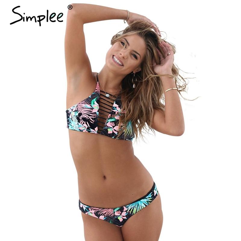Simplee Floral swimwear women sport suit Low waist bottom 2017 summer beachwear Hollow out bikini set