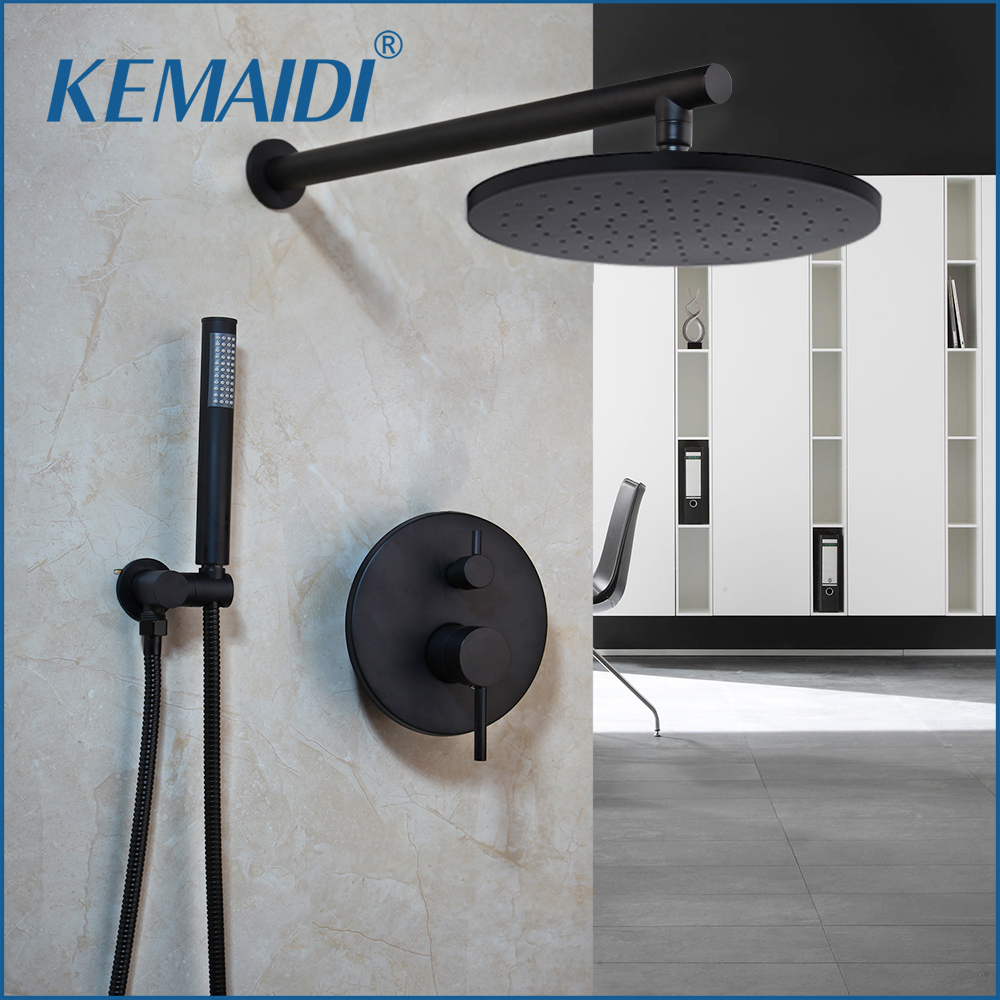 KEMAIDI 8 inch Black Round Modern Rainfall Wall Mounted Bathroom Shower Faucet Sets Shower Head Hand