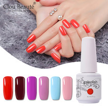Clou Beaute Gel Unha Polonês Brilho LED Soak Off Gel UV Verniz Gel Nail Art Verniz Laca Rosa Cor Branca 8 ml Gel Pintura(China)