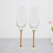 Свадебные тосты, бокалы для вина, хрустальный кубок, подарки, набор стаканов для питья, золотой цвет, стебель