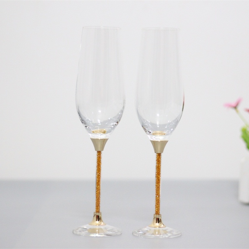 wedding toasting wine glasses crystal goblet gifts drinking glasses set gold color stemchina