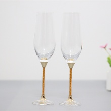 2015 new design lead free clear crystal 235ml drinking glasses set with gold color stem
