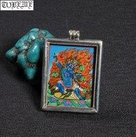 Непал, ручная работа 925 Серебряный Ваджрапани Будда Кулон Тибетский Танга кулон Настоящее серебро 925 буддийский Ваджрапани буддийский амул