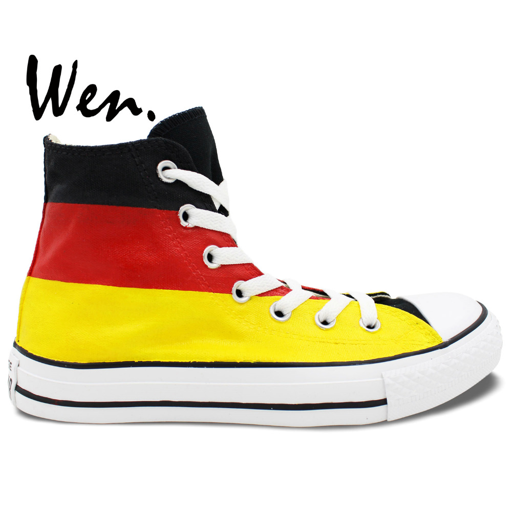 Wen Best Popular Hand Painted Shoes Custom Design Germany Flag Men Women's High Top Casual Canvas Sneakers Original Shoes wen original hand painted canvas shoes space galaxy tardis doctor who man woman s high top canvas sneakers girls boys gifts