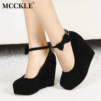 Mcckle women fashion buckle ladies shoes wedges high heels platform black casual bowtie pumps tenis feminino.jpg 350x350