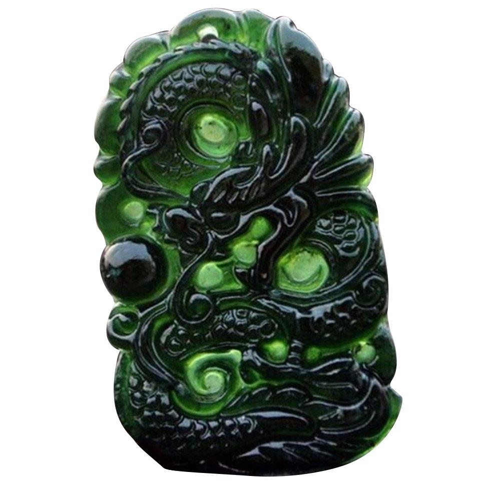Chinese Natural Black Green Jade Pendant Dragon Shaped Handmade Jade Desktop Ornaments For Study Office Crafts Good Luck Amulet in Figurines Miniatures from Home Garden