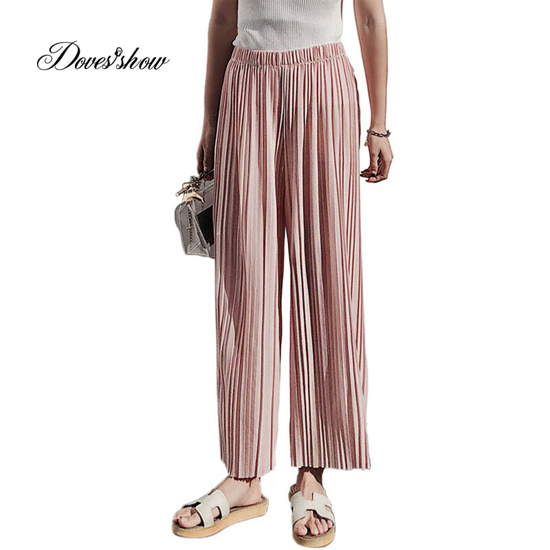 2018 Spring Summer New High Waist Pleated Chiffon   Wide     Leg     Pants   Elastic Casual Loose   Pants   Thin Cropped Trousers Women 7 colors