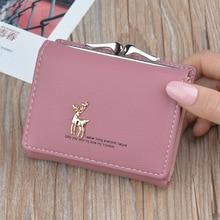 Fashion Deer Women Short Wallets Cute Small Wallet Coin Purse Card Holder PU Leather Ladies Mini Purse Porte Monnaie Homme.
