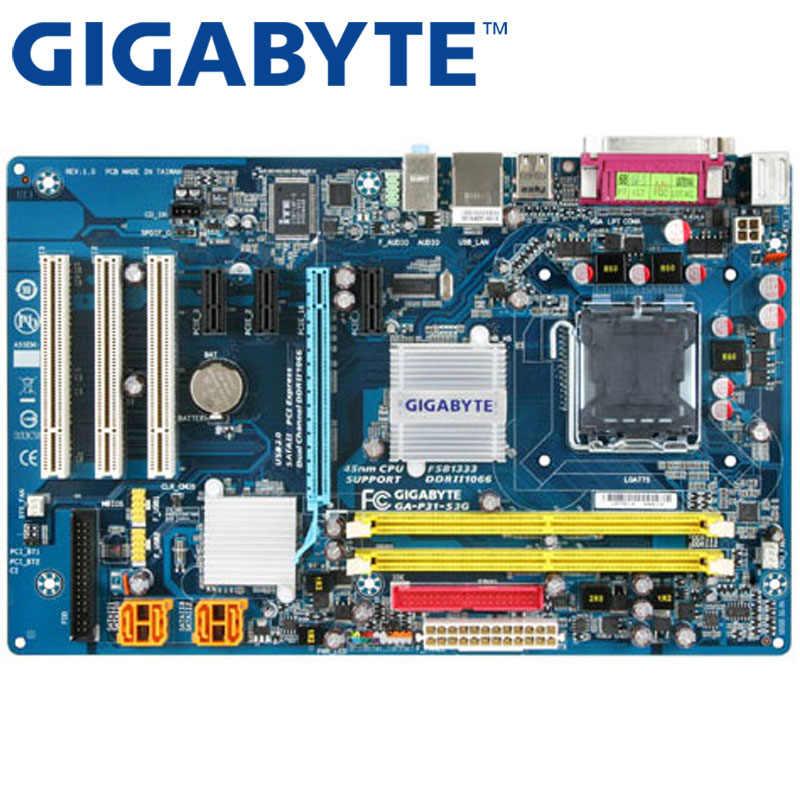 GIGABYTE GA-P31-S3G เมนบอร์ดเดสก์ท็อป P31 ซ็อกเก็ต LGA 775 สำหรับ Core 2 DDR2 4G Micro ATX เดิมใช้ P31-S3G Mainboard g31