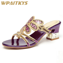 2018 Fashion Exquisite Women Rhinestone Mid-heel Sandals Golden Black Purple Crystal Leather Casual Sandals Women Wedding hot women sandals 2018 flip flop mid calf flat heels sandals women fashion crystal rhinestone backle strap wedding sandals