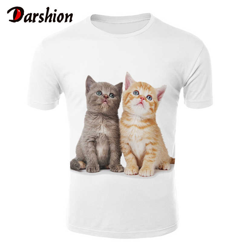 New Cool T-Shirt Da Uomo/Donne 3d Maglietta di Stampa due cat Manica Corta Estate Magliette e camicette Magliette Uomini Top 2019 di Estate T Shirt camiseta masculina