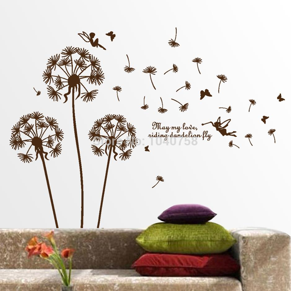 aliexpresscom  buy removable pvc dandelion wall stickers living  - aliexpresscom  buy removable pvc dandelion wall stickers living roomflowerdecorative wall decal kids home decoration butterfly wall art poster from