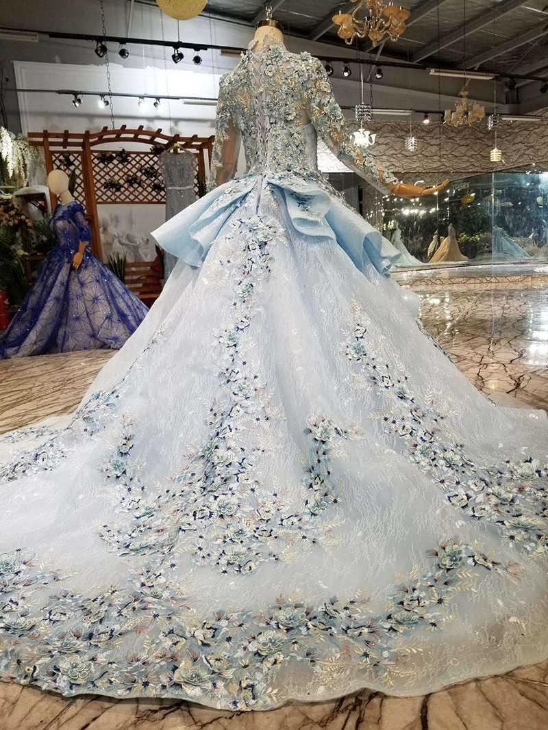 LS320400G blau spezielle dubai puffy party kleider high neck lange ärmel tüll lace up zurück abendkleider können machen für muslim