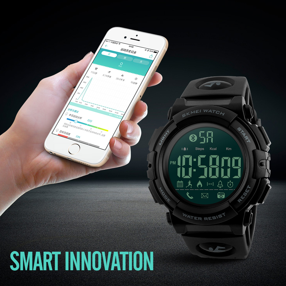 <font><b>SKMEI</b></font> Fashion Bluetooth Smart Watch Pedometer Calories Remote Camera Sports Digital Wristwatches for iPhone Android Relogio image