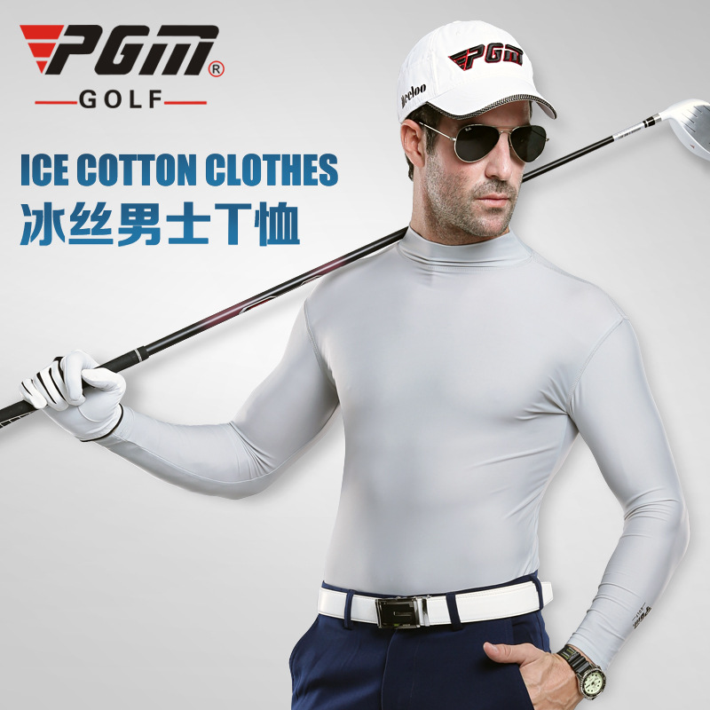 Outdoor Sport PGM Mens Summer Shirt Underwear Golf Shirt Sunscreen UV Ice T-shirts Long Sleeve Clothes Golf Apparel For Men