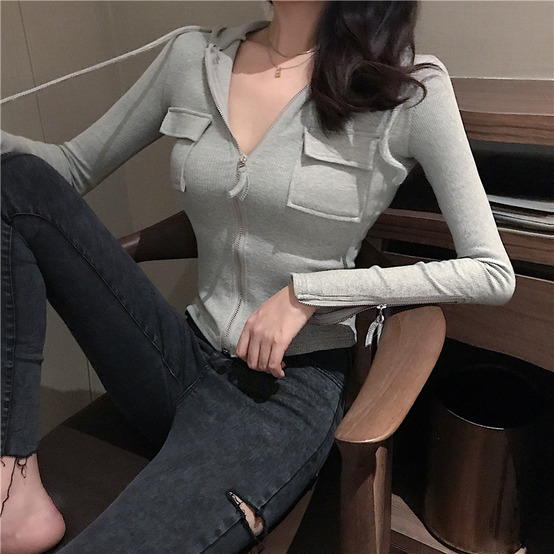 2019 Spring and summer Women's Clothing Jackets new coats and jackets women full vintage solid pockets Simple slim zipper 15