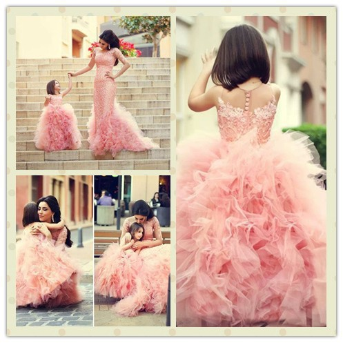 pink   flower     girl     dress   for wedding Party day high quality   flower     girl     dresses   children   dresses   vestido de festa infantil 2015