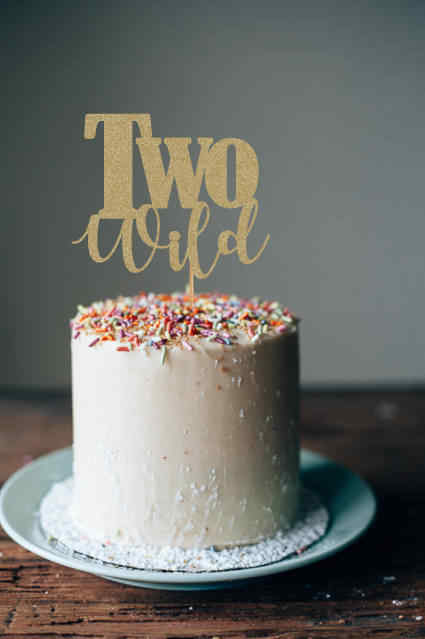 Strange Two Wild Cake Topper Glod Glitter 2Nd Cake Topper 2Nd Birthday Funny Birthday Cards Online Fluifree Goldxyz