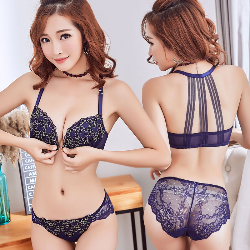 68f75abf5d4cc Under sutian suits thick section wireless small chest underwear lady no  rims bra bralette set front closure buckle back together-in Bra   Brief Sets  from ...