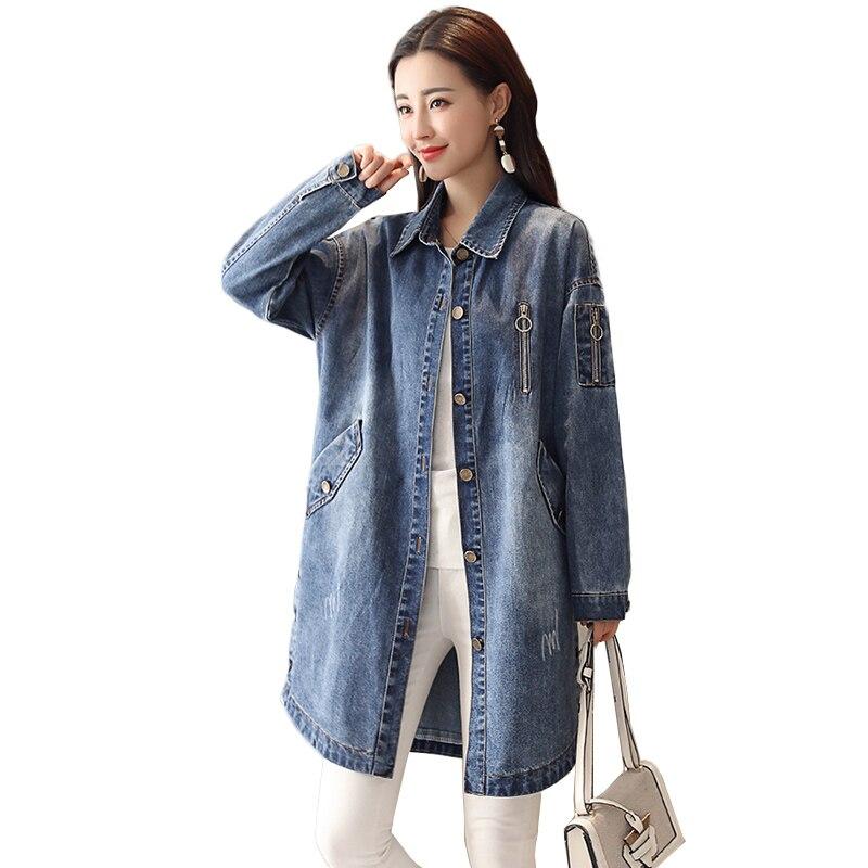 Streetwear Long Denim   Trench   Coat 2019 Spring Women Vintage Slim Outerwear Fashion Single Breasted Bomber Windbreaker Overcoat