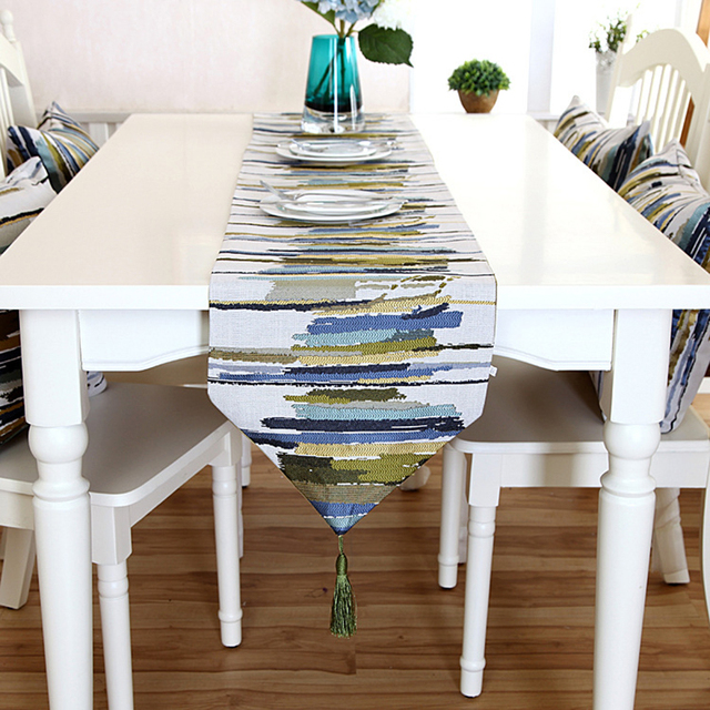Simple And Modern Coffee Dining Table Runner Colorful Stripes Embroidered Table  Runner With Tassels Home Decoration