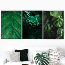 Fresh Plant Leaf Wall Art Canvas Painting Green Modern Nordic Posters And Prints Pictures For Living Room Decor