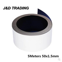 5M Self Adhesive Magnetic Stripe Rubber Flexible Magnet DIY Strip Tape Width 50mm Thickness 1.5mm