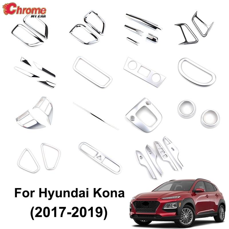 For Hyundai Kona 2017 2019 Chrome Front Fog Light Lamp