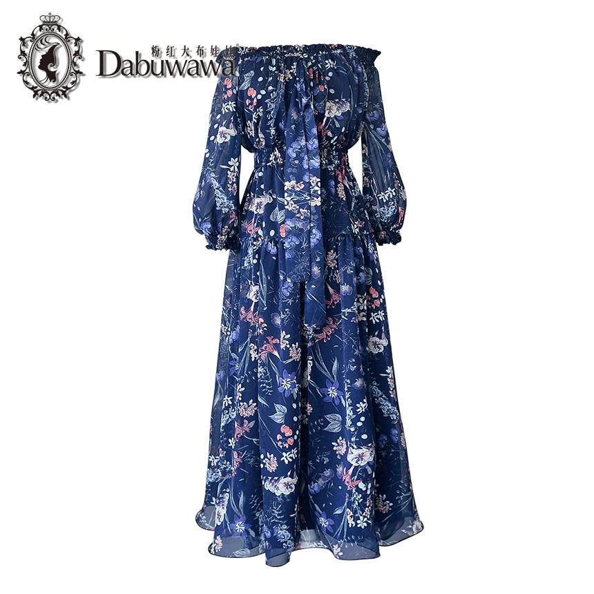 Dabuwawa темно-синие осенние Винтаж платье 3/4 рукава с открытыми плечами Цветочный принт шифоновое платье