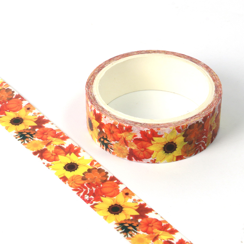 1pcs Creative Sunflower Washi Tape Adhesive Paper Tape School Office Supplies DIY Scrapbooking Decorative Sticker Tape 5m