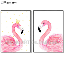 Handmade Abstract Animal Flamingo Oil Painting on Canvas Unique Bird Vivid Colors Pink King and Queen