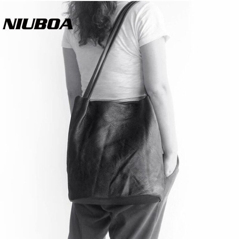 NIUBOA Genuine Leather Shoulder Bags Casual Handbag Vintage Leather Tote Women Shopping Bag Long Handle High Quality Cowhide Bag vintage style women s genuine leather handbag tote top cowhide shoulder bag clutch evening bag braided handle